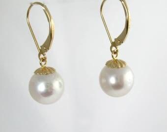 14KT Dangle 10mm South Sea Pearl Earrings