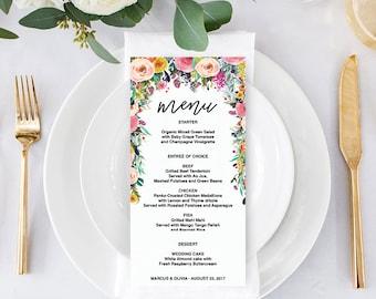 """Menu - DIY Wedding Menu - Rustic Wedding - DIY Shower Menu - 4"""" x 8"""" Menu - Bridal Shower Menu - Printable Menu - Secret Garden Menu"""
