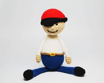 Stuffed Pirate Doll - Pirate Doll - Stuffed Pirate - Pirate Toy - Dolls for Boys - Doll Toys - Kid's Dolls - Crochet Doll - Knit Doll