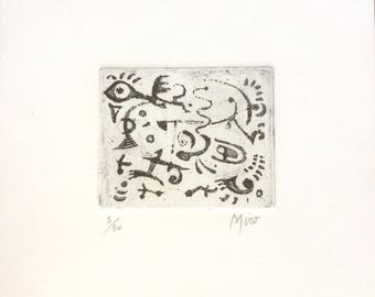 JOAN MIRO - hand signed & numbered original etching - c1970s (edition of 50. Matisse Int)