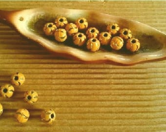 Indian BRONZE ENAMELLED yellow round bead