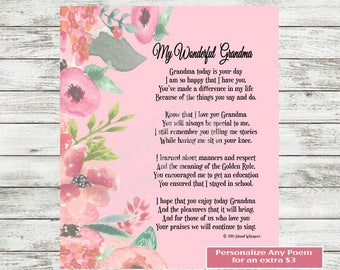 Grandmother Gift, Grandmother Poem, New Grandmother Gift, Grandma Birthday, Grandmother, Gift from Grandchildren, Instant Download