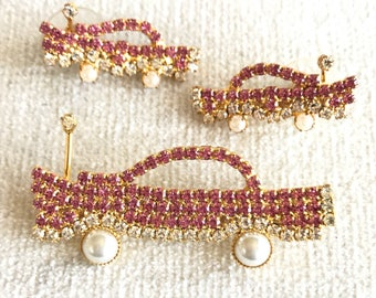 SALE Impossible to find Vasari Classic Pink Car Brooch and Earrings Set
