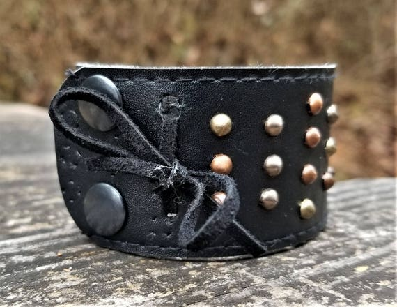 One-of-a-Kind Upcycled Leather Wrist Cuff (Medium)