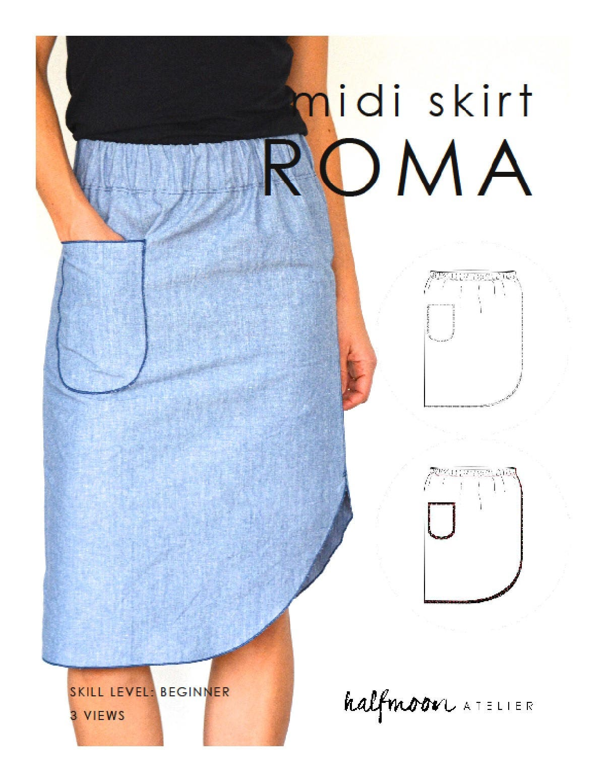 midi skirt roma pdf sewing pattern for instant