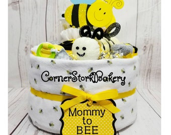 Mommy to Bee Diaper Cake  Bee Diaper Cake  Bumble Bee Baby Shower  Bee Baby Shower Centerpiece  Baby Gift  Neutral Gender Baby Gift