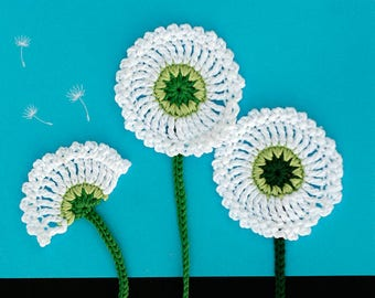 Dandelion Flowers Crochet applique, White crochet motif with stem, 7cm flower diameter, Set of 3