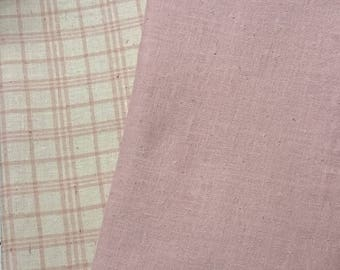 """25% OFF Pink Plaid and Solid Pink   """"Handkerchief Linen""""   2-Fabrics"""