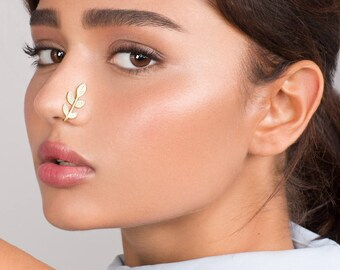 Long Faux Leaves Nose Ring - gold faux nose ring , fake nose hoop , leaves nose hoop , fake piercing , fake nose piercing , nose jewelry
