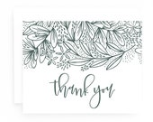 Saturday Thank You Cards: Navy Botanical Thank You Card Set of 8