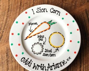 Welsh Christmas eve santa plate,  sion corn plate, sion corn, welsh plate, welsh christmas, welsh, Christmas Eve plate in welsh, welsh kids