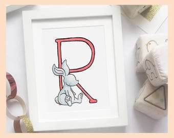 "R is for Rabbit Alphabet Nursery Art 8""x10"" mounted wall decor print"