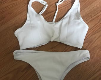 knotted front tie bikini