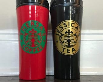 SALE *Personalized Starbucks Like Travel Coffee Mug and Tea Mug