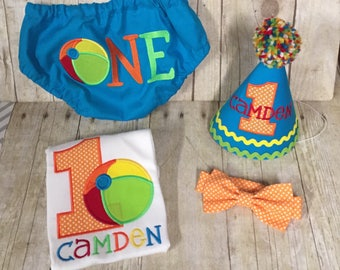 Boys Cake Smash Outfit - Beach Ball Party - Have a Ball- Diaper Cover, Bow Tie & Birthday Hat Shirt - Birthday Outfit  First 1st Birthday