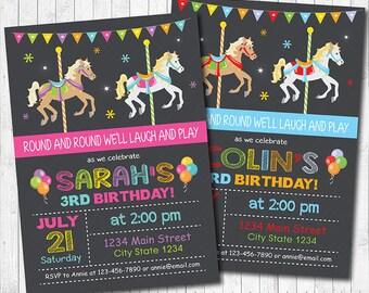 Carousel Birthday Invitation, Carousel Invite, Carousel Party, Carousel Invitation, Girl Boy Invitation, Digital printable Invitation