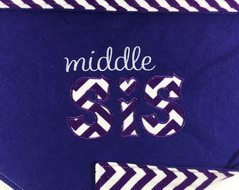 Baby Girl Blanket Middle Sister Gifts for Middle Sister Personalized Baby Blanket Purple Baby Blankets Personalized Chevron Blanket