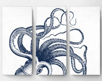 Attirant Octopus Canvas, Octopus Art, Octopus Wall Art, Octopus Decor, Nautical Art,