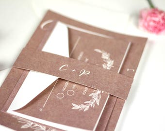 Rustic Wedding Invitation, Rustic Wedding Invites, Kraft Wedding Invitation, Kraft Wedding Invite, White Ink Printing