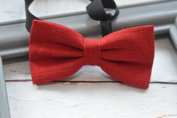Kids solid red linen bow tie  for Baby, Toddlers and Boys  (Kids Bow Ties) with Braces / Suspenders