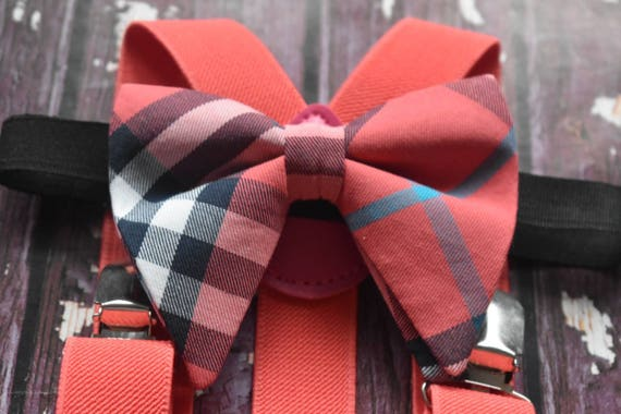 Festive watermelon pink tartan / plaid floppy / butterfly bow tie  for Baby, Toddlers and Boys (Kids Bow Ties) with Braces/ Suspender