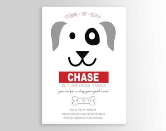 Dog Birthday Party Invite - Puppy Invitation - Puppy Pawty - Party Supplies
