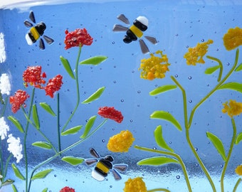 Flowers and bumble bees,  freestanding, original fused glass art