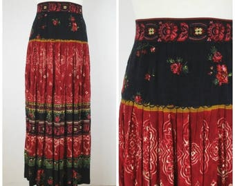 Summer Clearance Vintage 80s 90s Red and Black Floral Maxi Skirt - Boho Hippie Floor Length Broomstick Gypsy Skirt - S M