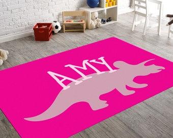 Personalized Rug, Dinosaur Nursery, Triceratops, Nursery Rug, Dinosaur Rug, Girls Bedroom Decor, Playroom Rug, Childrens Rug, Kids Room, Rug