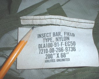 US Army nylon Insectbar Insect Bar (mosquito net for cot) Abilities Unlimited 1991