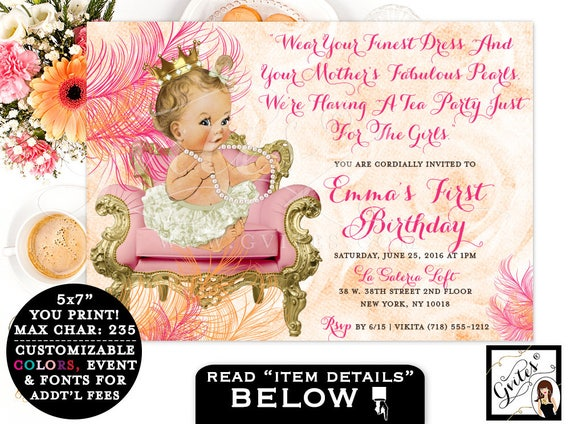 First Birthday Invitation Diamonds & pearls Pink Gold Orange. Vintage baby girl PRINTABLE invitation, tea party baby girl 1st birthday 7x5.