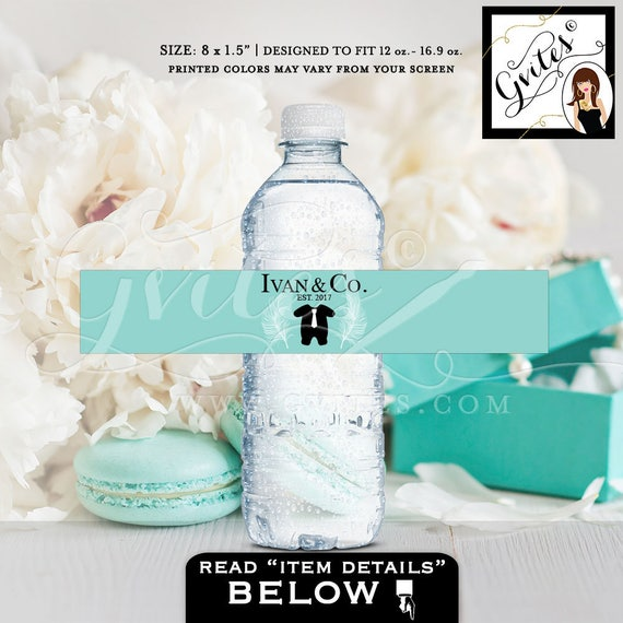 """Baby shower water bottle labels, stickers, Personalized BOY Baby and Co theme. Fits 12oz-16oz. 8x1.5"""" 6 Per/Sheet. Digital File Only!"""