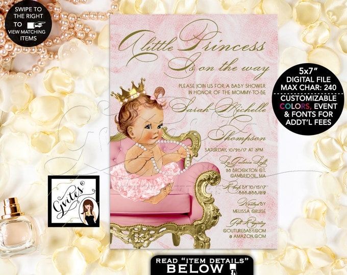 """Pink and Gold Baby Shower Princess Invitation, A little princess is on the way, gold and blush pink, printable, vintage. DIGITAL ONLY! 5x7"""""""