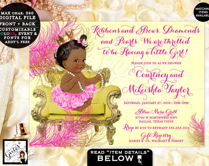 Pink Yellow & Gold Baby Shower Invitation African American baby girl invitations, ribbons bows diamonds pearls, princess, Digital #BSC020CYP