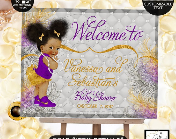 Baby Shower Welcome Sign, Purple Silver and Gold Baby Shower Princess Baby Shower, African American printable