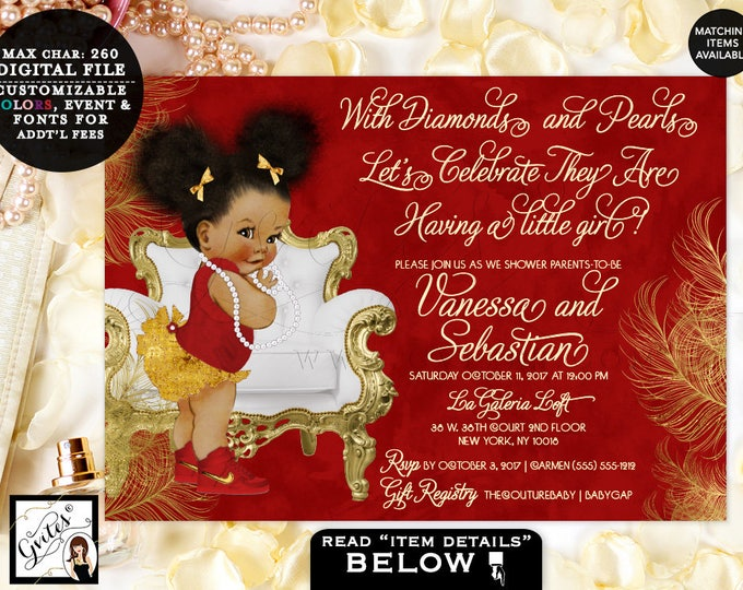 Red and Gold, With diamonds and pearls baby shower invitation, Afro puffs vintage baby girl, ethnic african american girl, DIY, Printable.