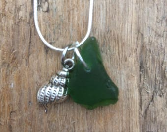 Bottle green sea-glass necklace with sea shell
