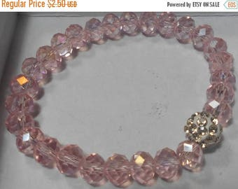 ON SALE Beaded Pink AB Crystal Bead Stretch Bracelet