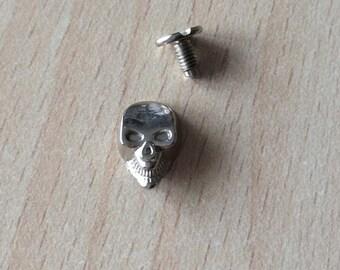Silver color skull screw Brads