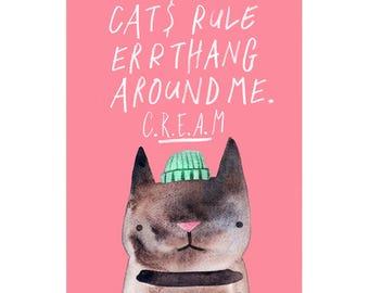 CREAM Cat A3 Art Print