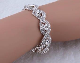 Bridal Bracelet - Rhinestone Bridal Bracelet - Vintage Bridal Bracelet - Crystal Bridal Bracelet - Wedding Bracelet - Rhinestone Bracelet