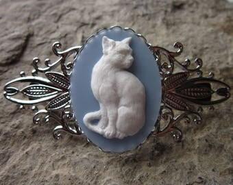 Choose White/Blue, Cream/Black or Black/White - Kitty Cat Cameo Silver Filigree Barrette - Hair Accessory - Cat Lover - Gift - Accessory