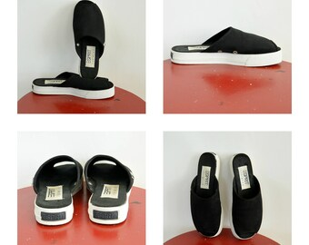 "Esprit Open toe Platform Sandals Sneakers Size 5 1/2 with 1"" platform rise Canvas Black Upper 90's Era Slip On Open back Sneakers"