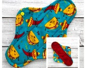 """Tacos 10"""" Flannel Cloth Panty Liner ~ Mama Cloth - Ready to ship"""