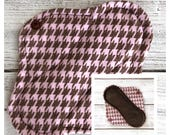 """6.5"""" Pink and brown houndstooth velour cloth menstrual pad- Mama Cloth - Ready to Ship"""