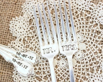 Custom Wedding Day Forks - Hand Stamped - Name Date - Mr. Mrs. - His Hers - Bride Groom - I Do Me Too - Mine Yours - Husband Wife - Gift box