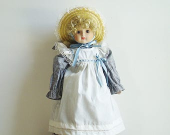 """Vintage Collectible Country Girl Porcelain Doll  Porcelain Connoisseur Girl Doll 16""""tall"""
