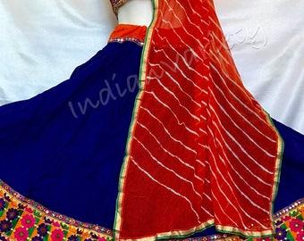 Royal blue chaniya choli with hand embroidered blouse and georget stole, Skirt,top,lehenga, ghargra,vintage,blouse,dandiya,navratri,costume