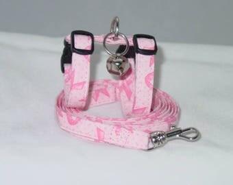 Pink Ribbon Harness and Leash Set