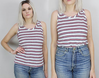 80s Striped Tank Top, Red White and Blue, Size Medium, Terry Cloth, Soft, Fuzzy, Unisex, Mens Size Small